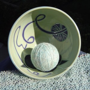 Sheep Bowl Holding Yarn