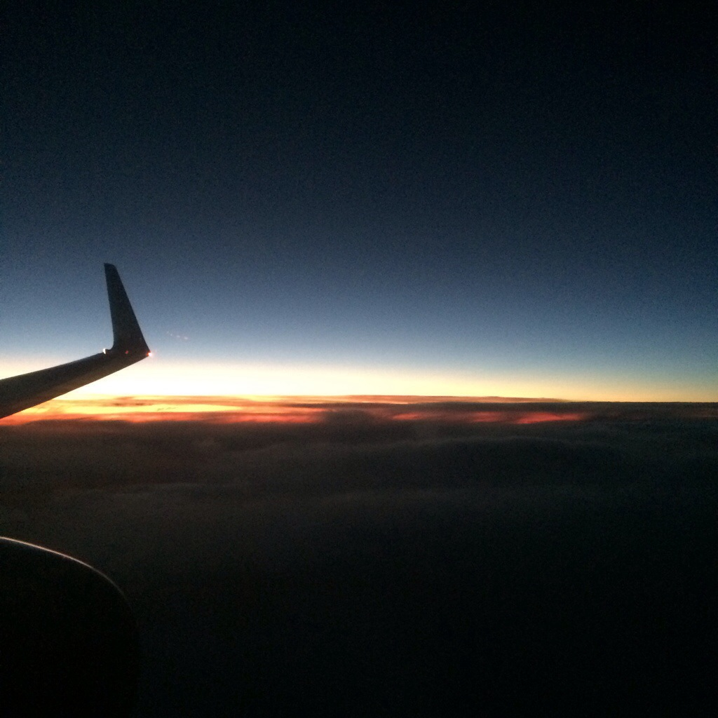 Sunset out the window as I fly north from Thanksgiving in the 'Ville...