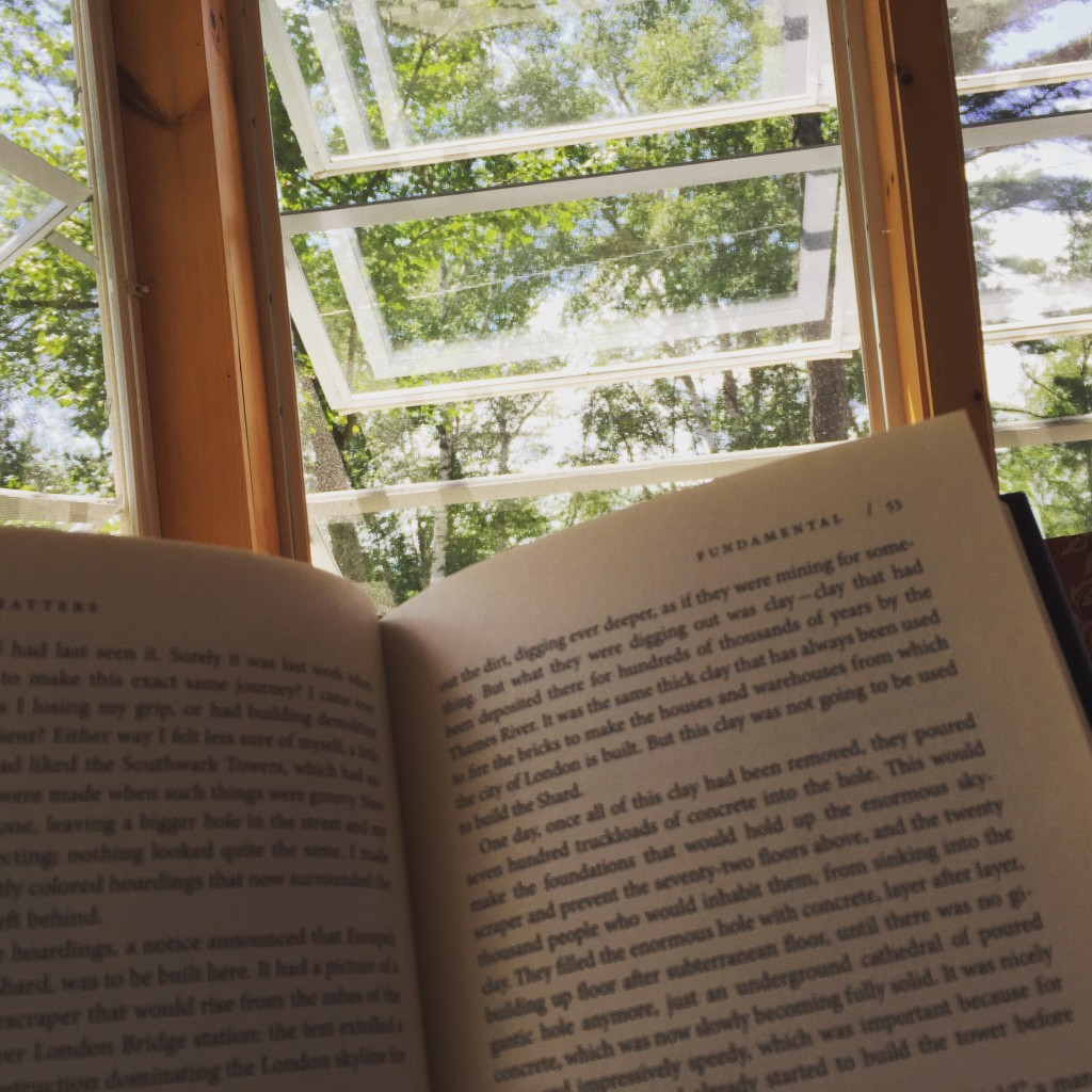 A bit of lazy Sunday afternoon reading on the screened in porch while at camp...