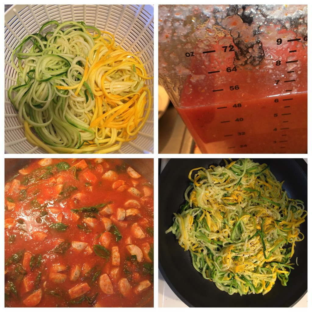 Pan fried zoodles & homemade tomato sauce