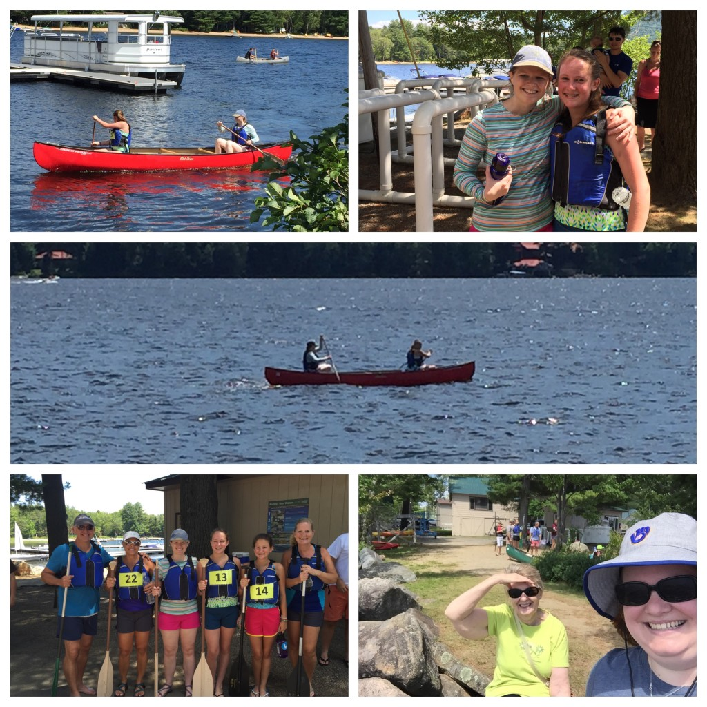 The Monday afternoon canoe race to the island & back