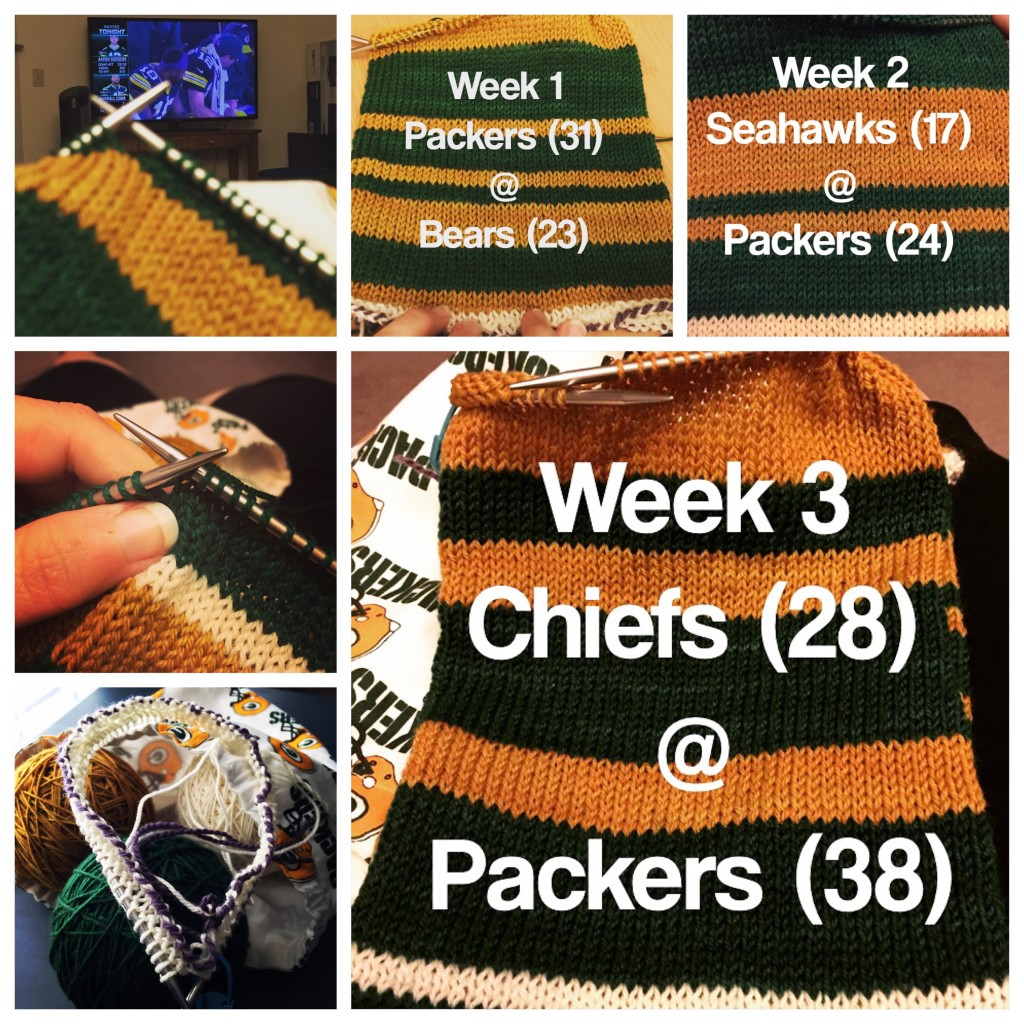 Having fun recording the Packers season in stitches...