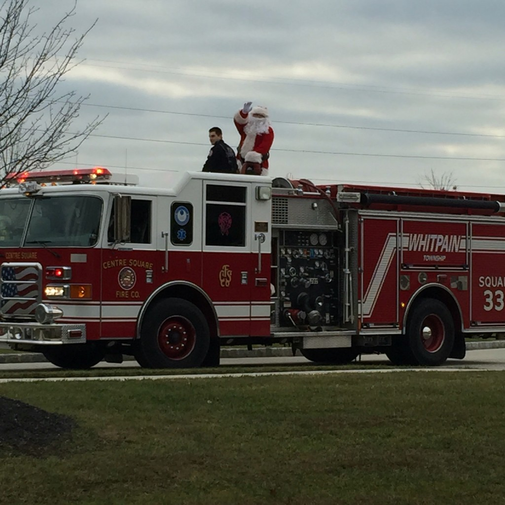 The local fire company bringing Santa through the neighborhoods in the township on a Saturday morning