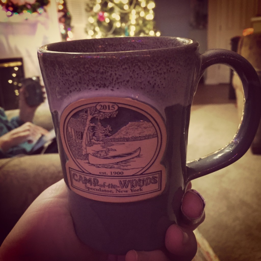 Christmas coffee in a new mug from our excellent family camp adventure