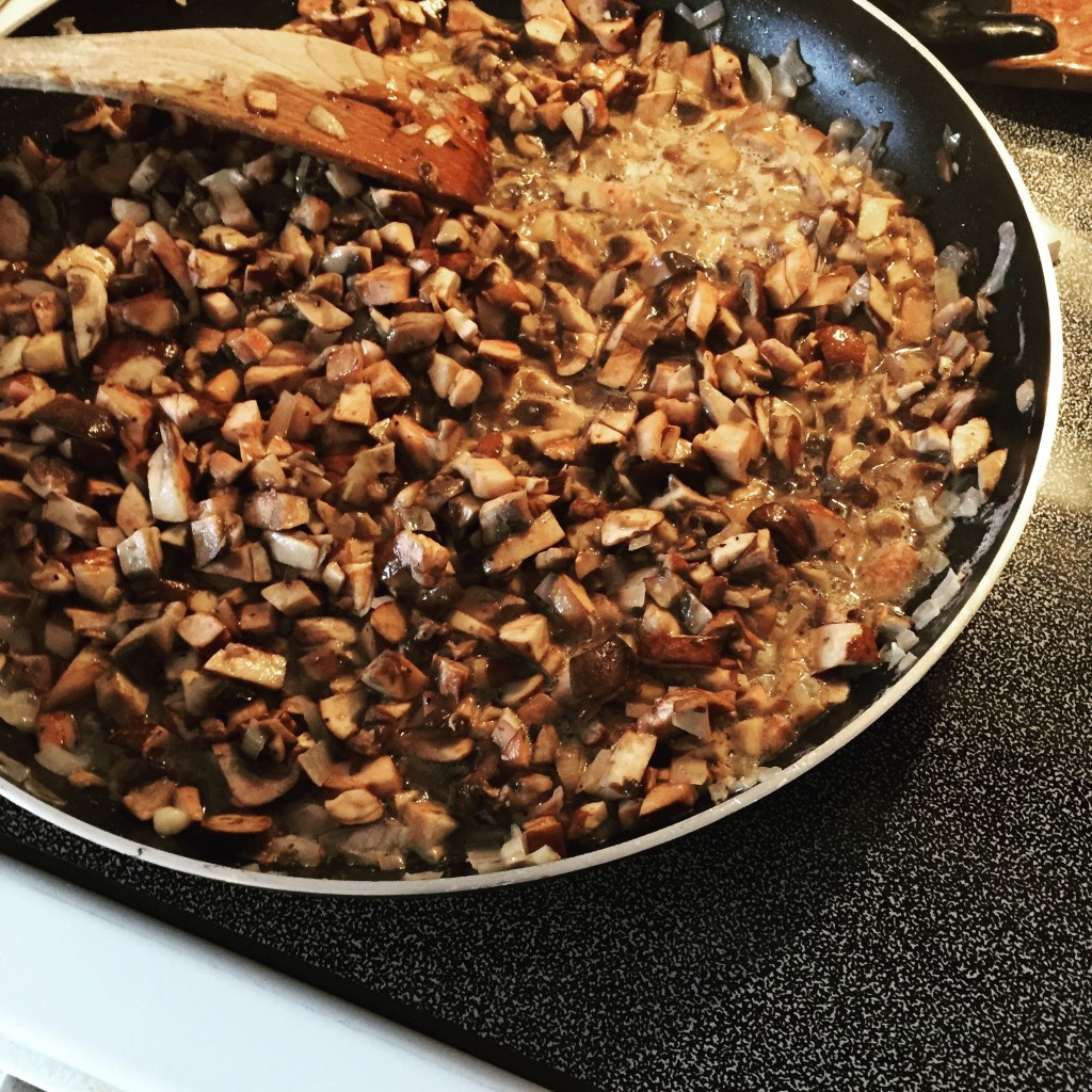 "Mushrooms & shallots sauteing for my ""famous"" mushroom dip"
