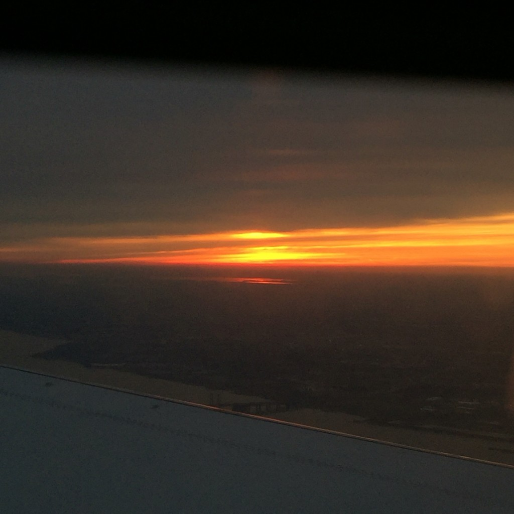 A gorgeous sunset descending into Philly after a great family getaway!