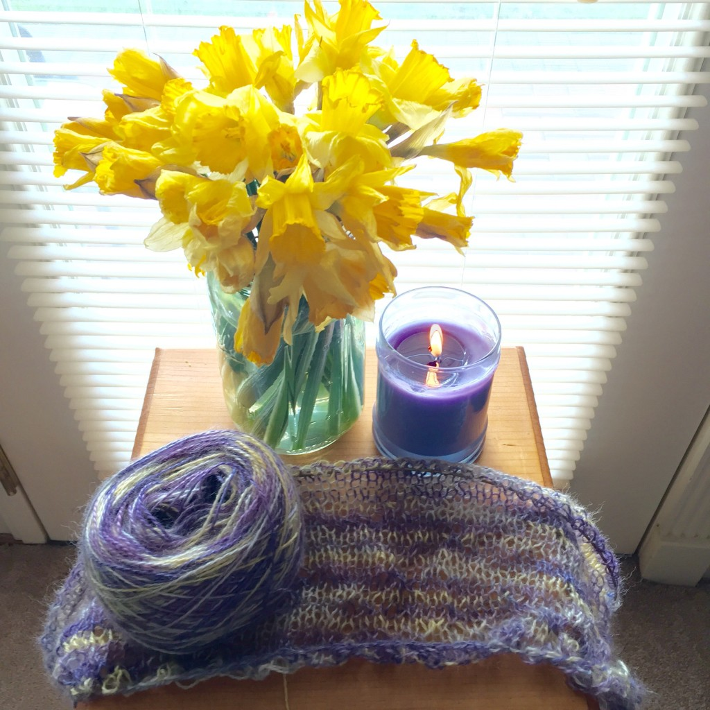 When the current knitting project matches the current flowers & candle
